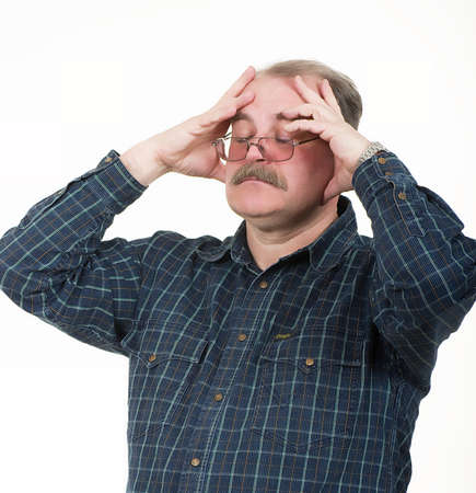 Portrait of old man having a headache on white background Stock Photo - 13259198