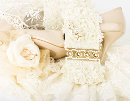 The beautiful bridal accessories and shoes Stock Photo - 13228746