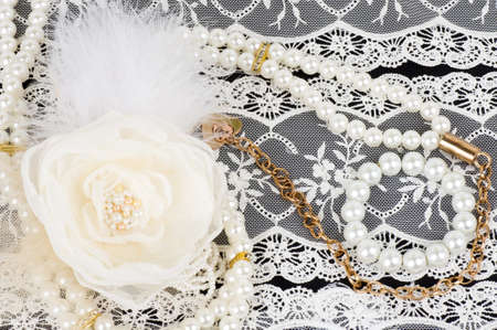 Vintage lace with flower and beads photo