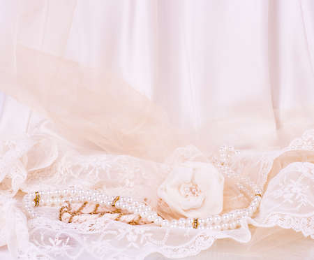 Vintage lace with flowers on white background photo