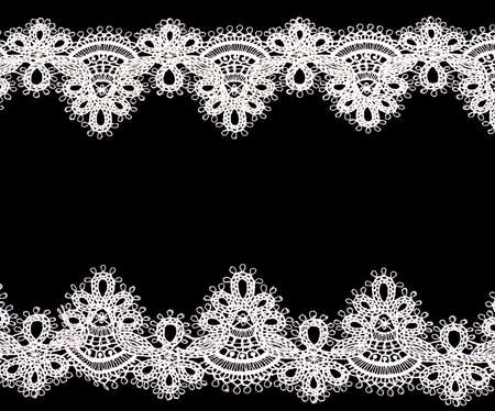 Vintage lace with flowers on black background Banque d'images