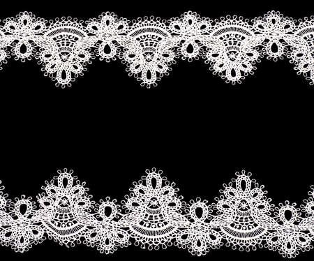 lace: Encaje de la vendimia con flores sobre fondo negro