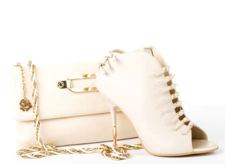 Sexy fashionable shoe and handbag isolated photo