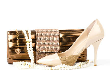 Sexy fashionable shoe and handbag isolated Stock Photo - 13236144