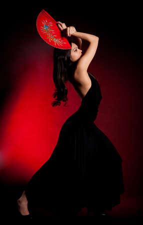 Flamenco Carmen beautiful woman in black dress 스톡 콘텐츠