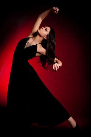 Flamenco Carmen beautiful woman in black dress photo