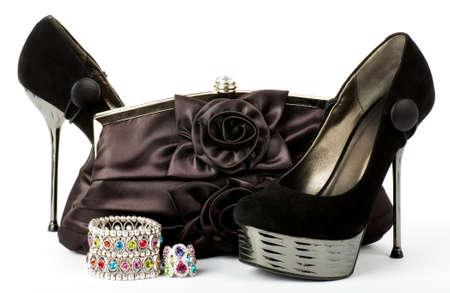 Sexy fashionable shoe, handbag with jewelry