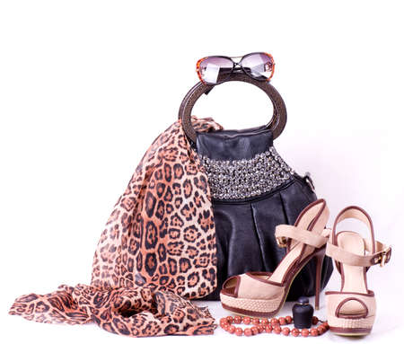 Fashionable accessories on white background  Stock Photo - 13584813