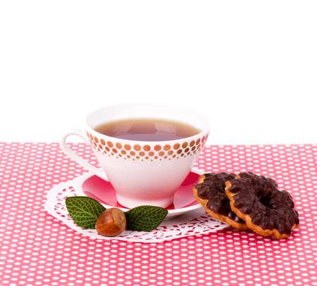 Beautiful tea set with cupcakes on white background Stock Photo - 13585929