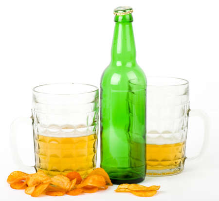 Beer green bottle and glass isolated on a white photo