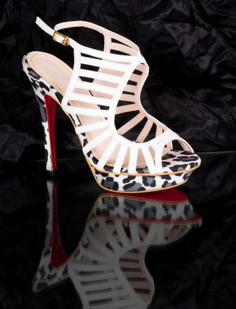 Sexy fashionable shoe on black background  Stock Photo - 13663123