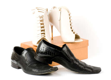 Sexy fashionable man s and womanish shoes on white background  Stock Photo - 13704588