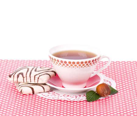 Beautiful tea set with cupcakes on white background Stock Photo - 13704589