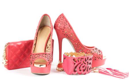 heel strap: Sexy fashionable shoe, handbag and belt isolated