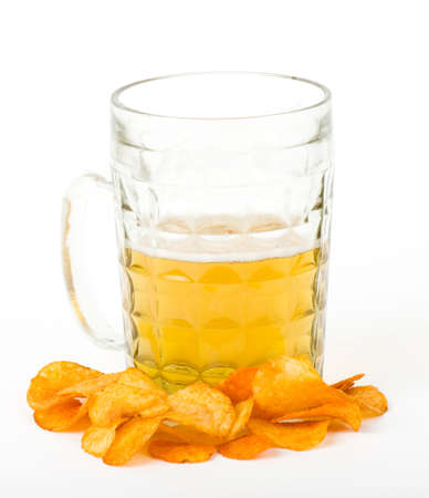 Beer and potato chips isolated on a white Stock Photo - 13856209