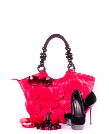 Sexy fashionable shoes, handbag and sunglasses isolated on white background  Archivio Fotografico