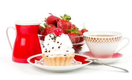 Dessert - sweet cake with cherry on a plate on background photo