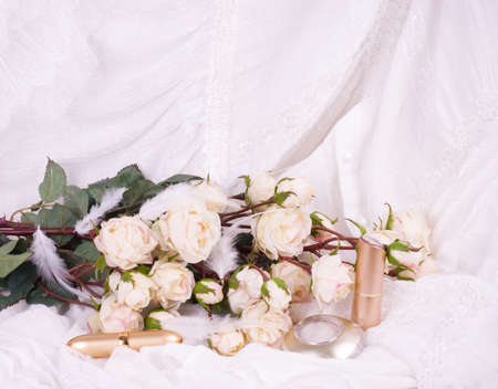 swelled: Beautiful bridal flowers with perfume bottles and eyeshadow