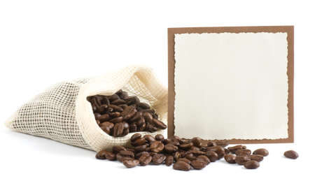 Coffee beans in canvas sack with banner on white background photo