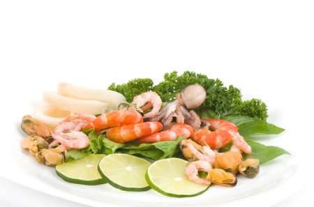 Raw cocktail of seafood with vegetables Stock Photo - 14252065