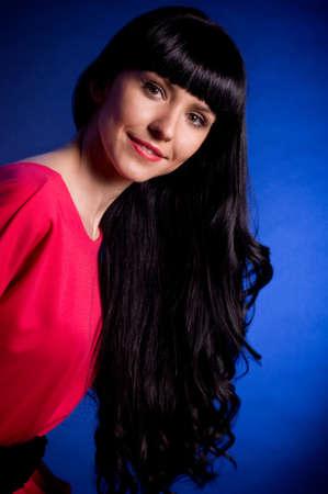 Beautiful nice woman with long hair photo