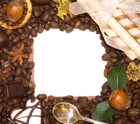 Coffee beans, nuts and sweetnesses with paper banner photo