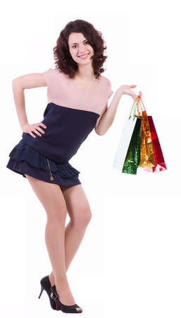Happy young woman with shopping bags Stock Photo - 14372401