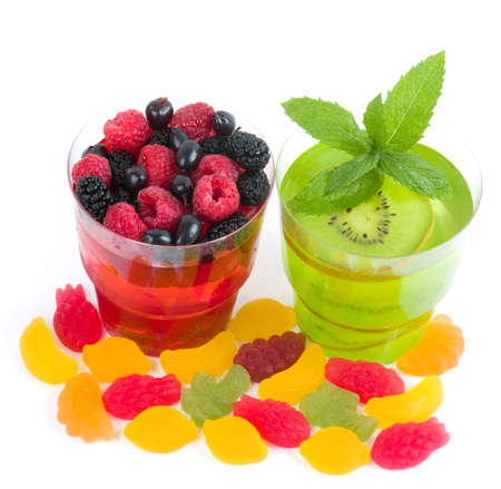Tasty colorful jelly with fruits, berries and candies