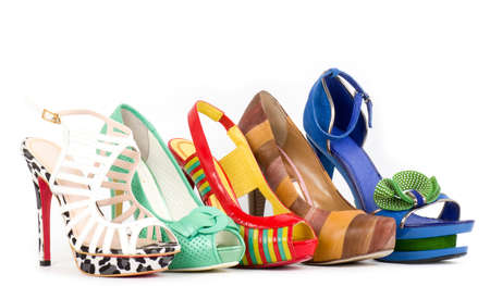 multiple objects: Collection of woman high heels shoes
