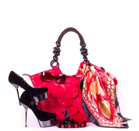 Fashionable accessories on white background  Archivio Fotografico