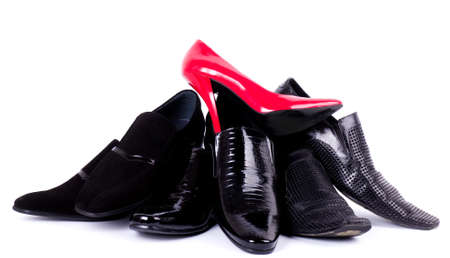man s: Sexy fashionable man s and womanish shoes Stock Photo