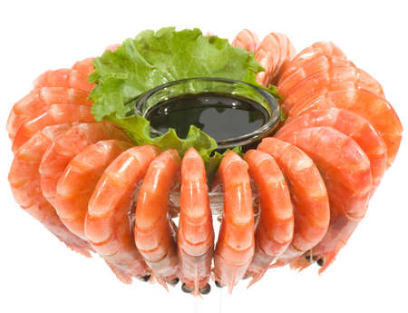 Chilled shrimp served with sauce photo