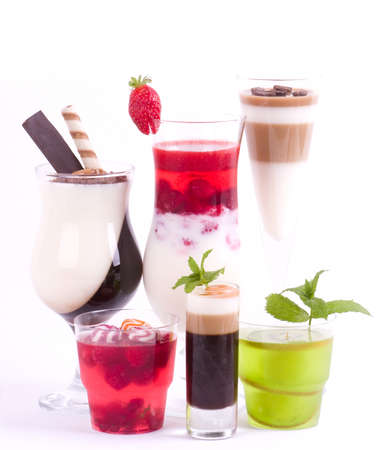 coffee jelly: Tasty colorful jelly with coffee, berry and fruits