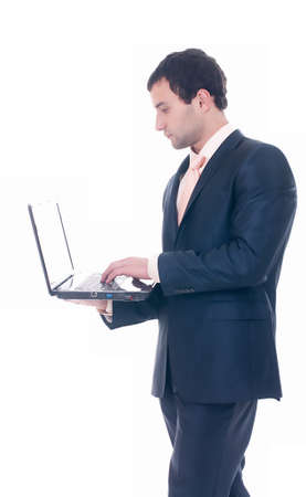 Young business man with notebook on white background  Stock Photo - 14874996