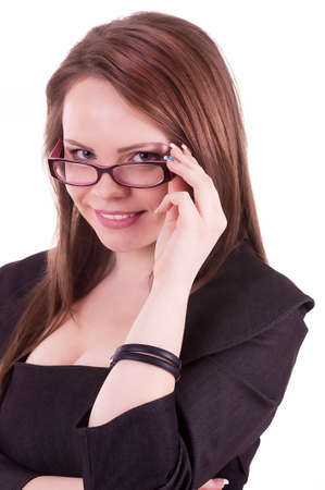 Young Businesswoman with glasses isolated on a white background photo