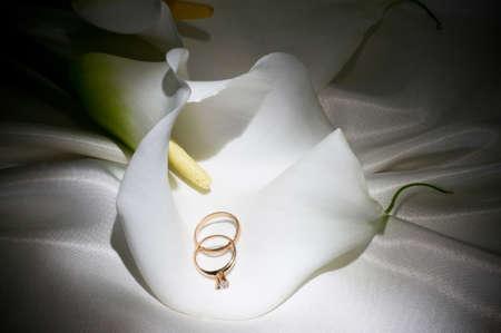 calas blancas: Hermosa callas blanco con los anillos de bodas de oro