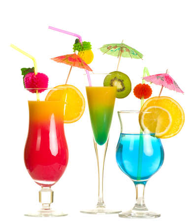 Stock image of alcohol cocktails over white background photo