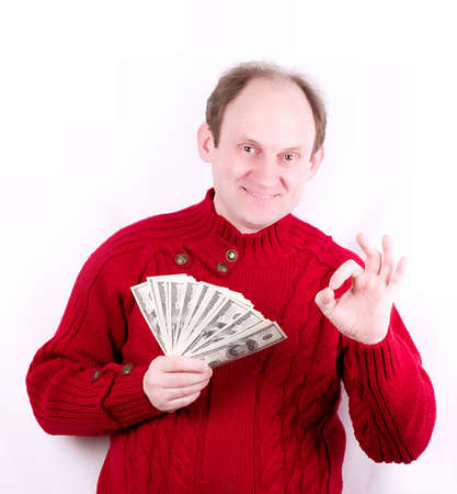 withdraw: American money in old working man hands