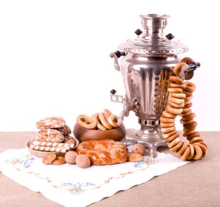 Samovar, a traditional old Russian tea kettle with bagels