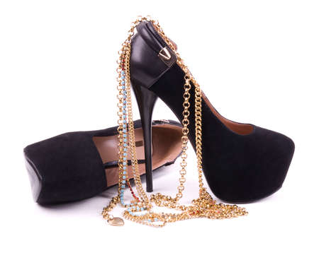 Sexy fashionable shoes, golden jewelry Stock Photo - 15103873