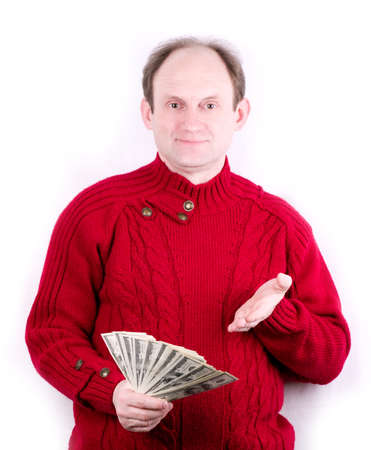 Happy middle age man with American money photo