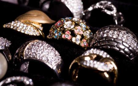 Beautiful jewelry on black background