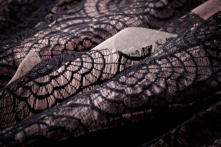 lace fabric: Black fabric with ornament Stock Photo