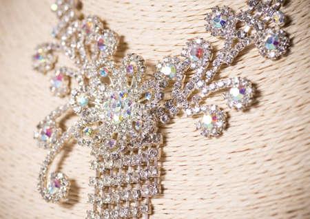 diamond necklace: Beautiful jewelry on background