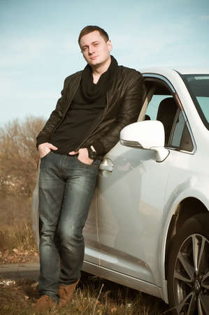 chrome man: Man driving his car Stock Photo