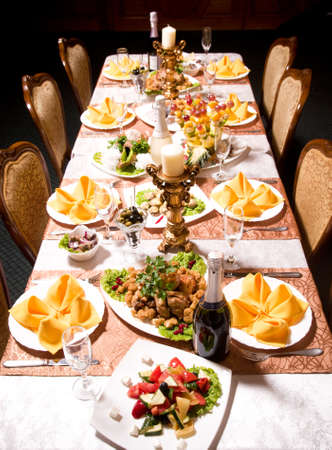 banquet table: service with silverware and glass stemware for an event party Stock Photo