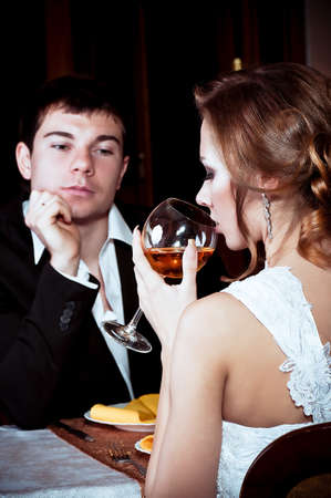 Bride and groom glass with vine glass on their wedding day Stock Photo - 16880446