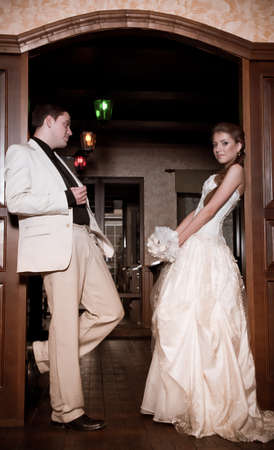 Bride and groom on their wedding day in a luxurious restaurant Stock Photo - 17065590