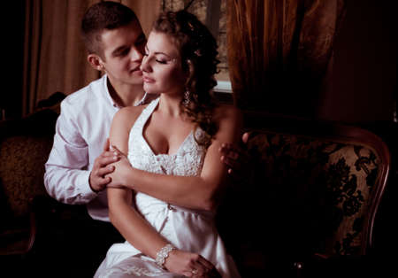 Bride and groom on their wedding day Stock Photo - 17349087