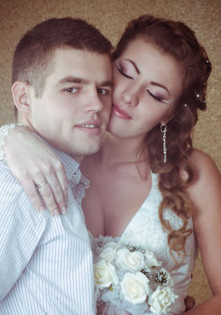 Bride and groom on their wedding day Stock Photo - 17349090